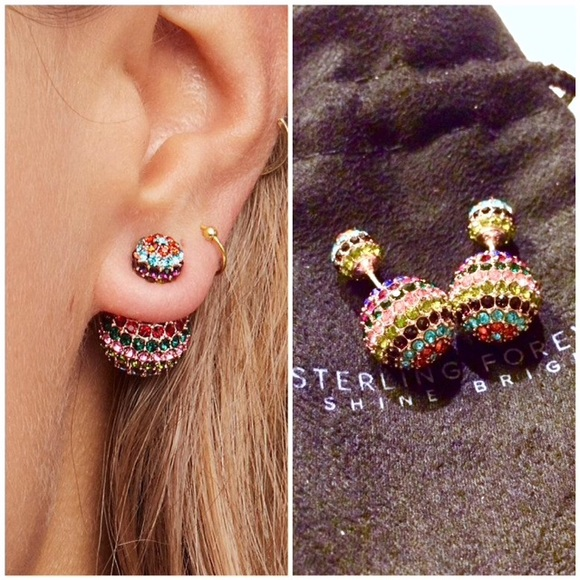 b1ebba6c9 Free People Jewelry | Rainbow Multicolor Crystal Doublesided ...
